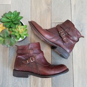 Frye Jayden Cross Strap Brown Leather Boots